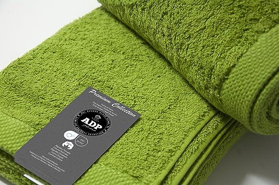 ADP Home - Juego de Toallas 550 Grms 3 Piezas (Toalla Sábana/Baño, Lavabo/Mano, Tocador) 100% Algodón Peinado - Color: Verde Oliva: Amazon.es: Hogar