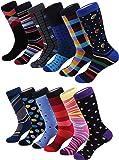 Marino Men's Fun Dress Socks - Colorful Funky Socks for Men - Cotton Fashion Patterned Socks - 12 Pack