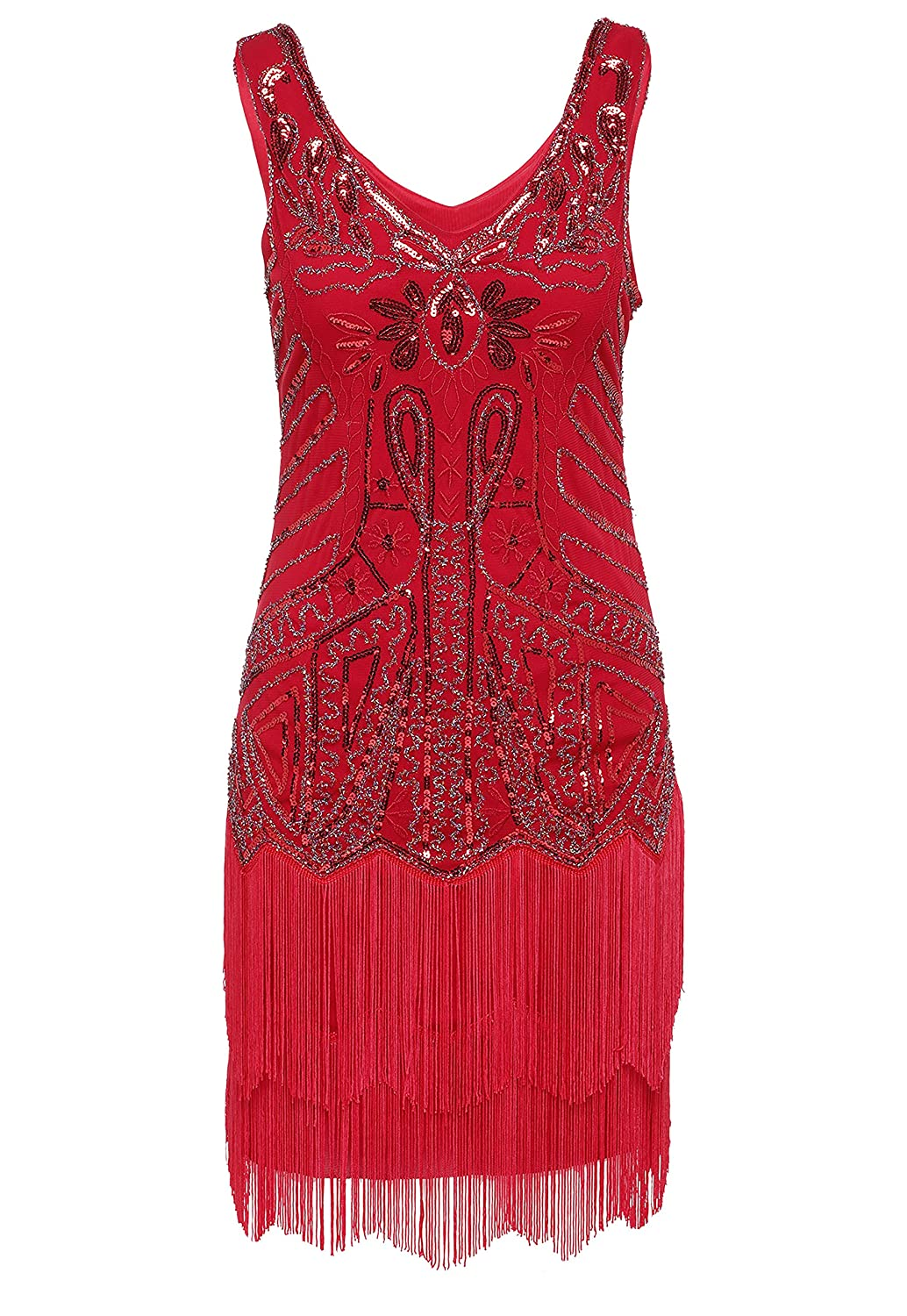 Roaring 20s Costumes- Flapper Costumes, Gangster Costumes BABEYOND Womens Flapper Dresses 1920s V Neck Beaded Fringed Great Gatsby Dress $28.99 AT vintagedancer.com