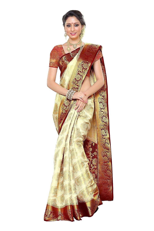 Kanchipuram Art Silk Saree With Running Contrast Unstitched Blouse