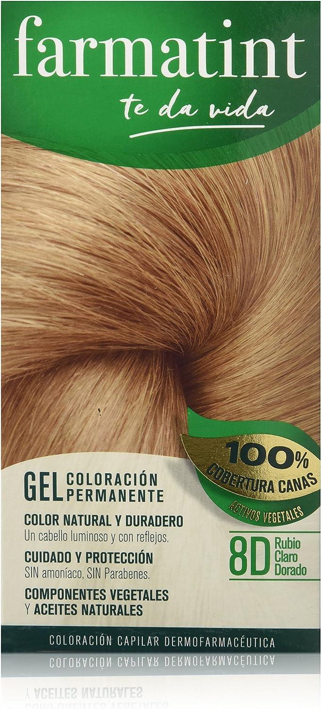 Farmatint Gel 8D Rubio Claro Dorado | Color natural y duradero | Componentes vegetales y aceites naturales | Sin amoníaco | Sin Parabenos | ...