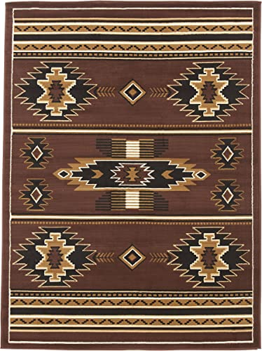 Rugs 4 Less Collection Southwest Native American Indian Area Rug Design R4L SW3 in Brown Chocolate 8 x10