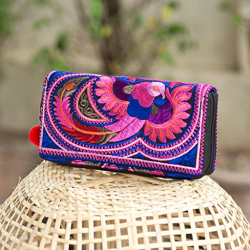 Changnoi Handcrafted Boho Wallet//Purse with Hmong Tribal Embroidered Pom Pom Zip Pull Fair Trade Purse for Women