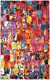 Abstract Painting Modern Area Rug Multi 3' 3 x 5' 3 FT Luce del sole Collection Geometric Contemporary Thick Soft Living Dinning Bed room