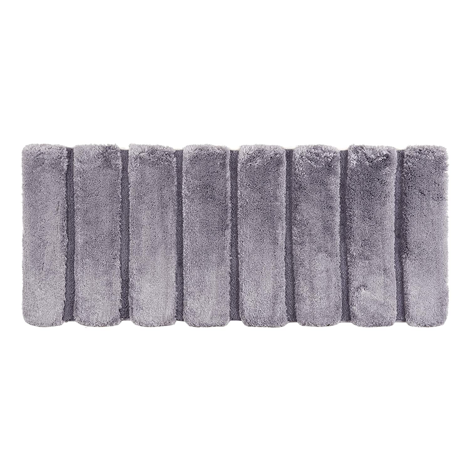 "Madison Park Tufted Pearl Channel Washable Bath Mat, Casual Solid Mildew Resistant Shower Mat, 24"" W X 60"" L, Grey"