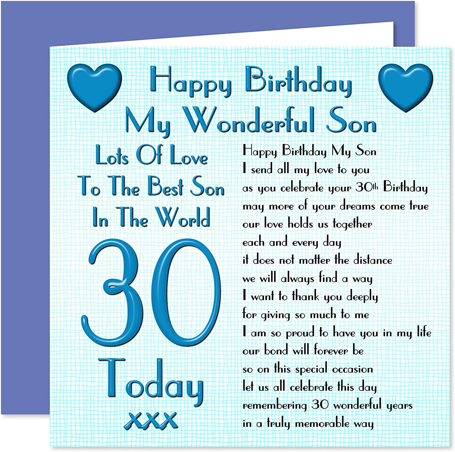 Remarkable Son 30Th Happy Birthday Card Lots Of Love To The Best Son In The Personalised Birthday Cards Paralily Jamesorg