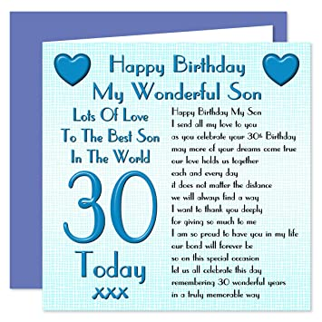 Son 30th Happy Birthday Card Lots Of Love To The Best Son In The