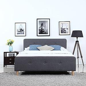 Divano Roma Furniture Mid Century Modern Linen Fabric Low Profile Bed Frame (Full, Dark Grey)