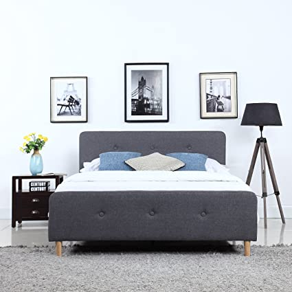 Divano Roma Furniture Mid Century Modern Linen Fabric Low Profile Bed Frame Queen Dark