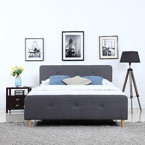 the latest b765e 2ca68 DIVANO ROMA FURNITURE Mid Century Modern Linen Fabric Low Profile Bed Frame  (Full, Dark Grey)