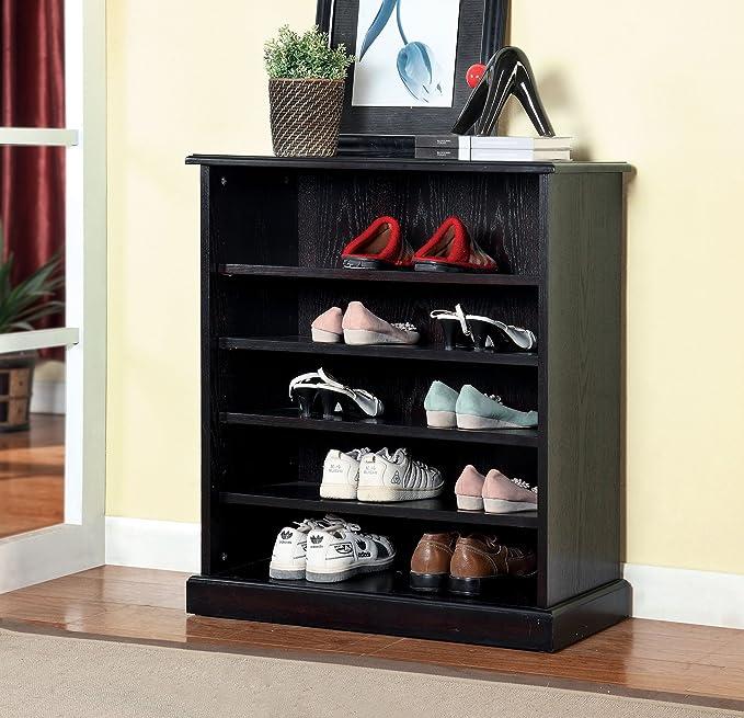 Amazon.com: Furniture Of America Laires 5 Shelf Open Shoe Cabinet, Oak:  Kitchen U0026 Dining