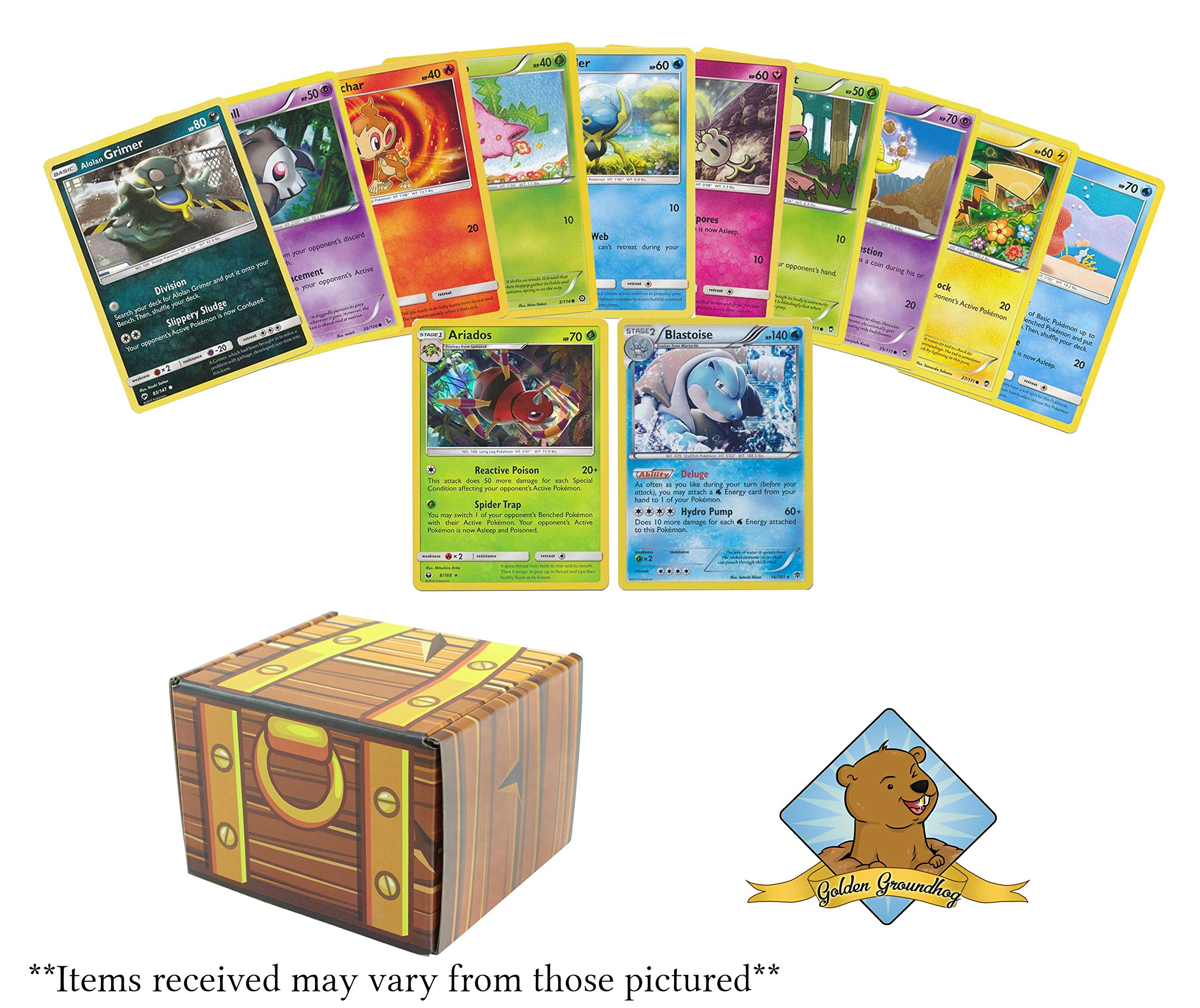 50 Pokemon Cards 2 Holo Rares! Includes Golden Groundhog Treasure Chest Box!
