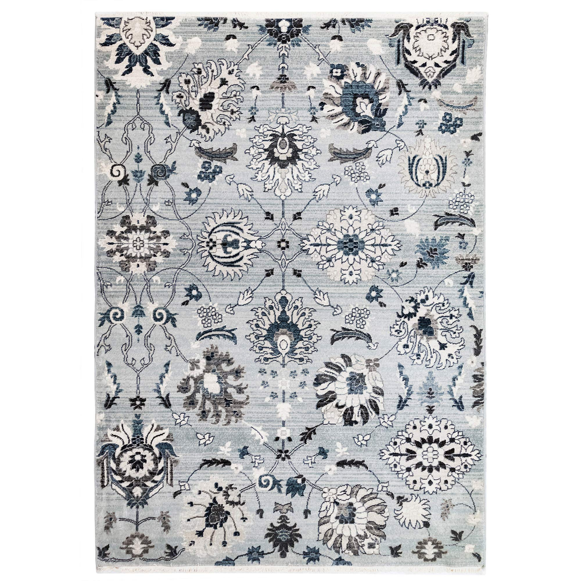 M by Liora MQU91816203 Marquee Vintage Tabriz Botanical Indoor Rug 8'10'' X 11'9'' Pale Blue and Navy