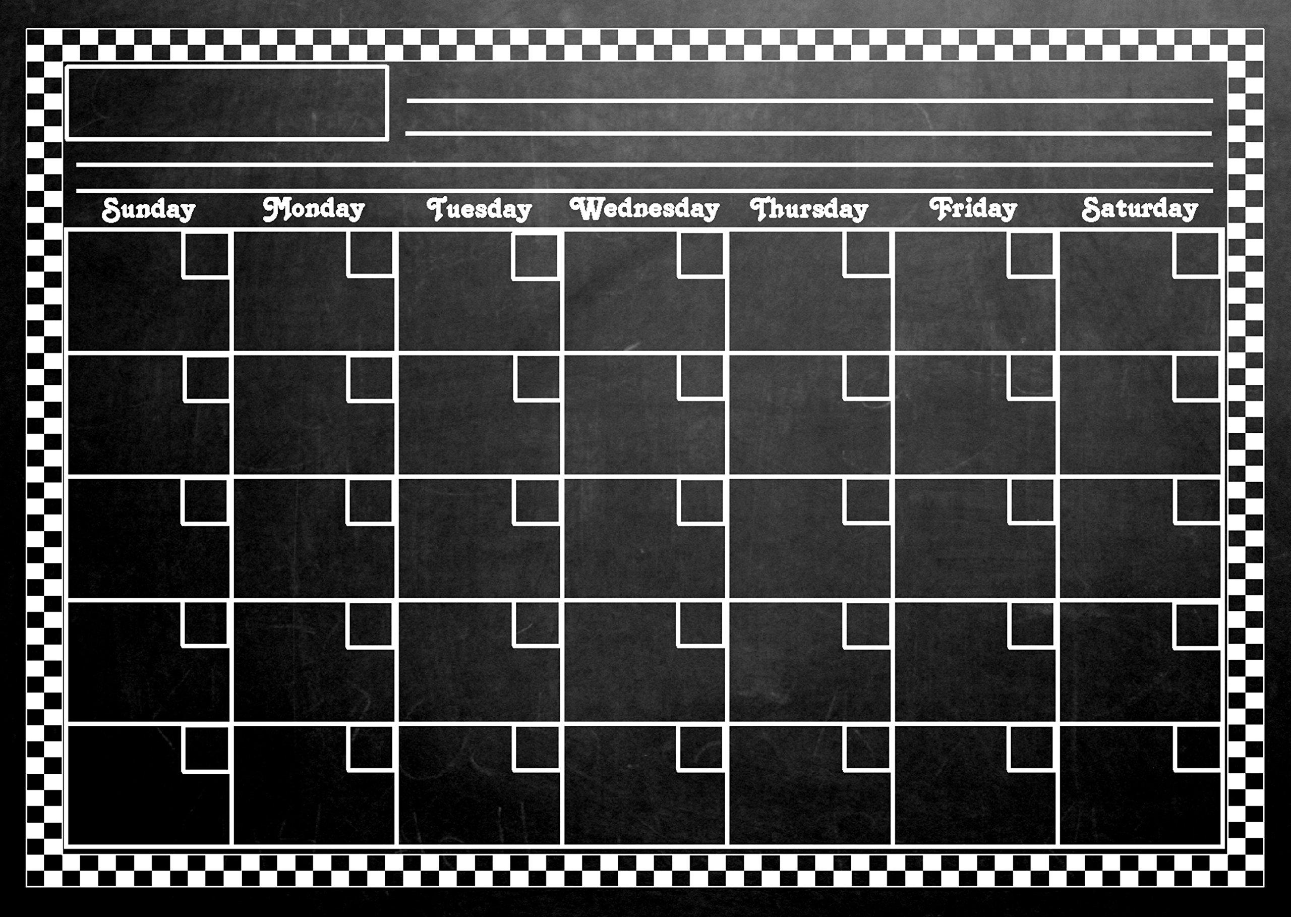 LARGE 12'' X 17'' Magnetic Refrigerator Chalkboard Dry Erase Calendar (dusty black chalkboard design)