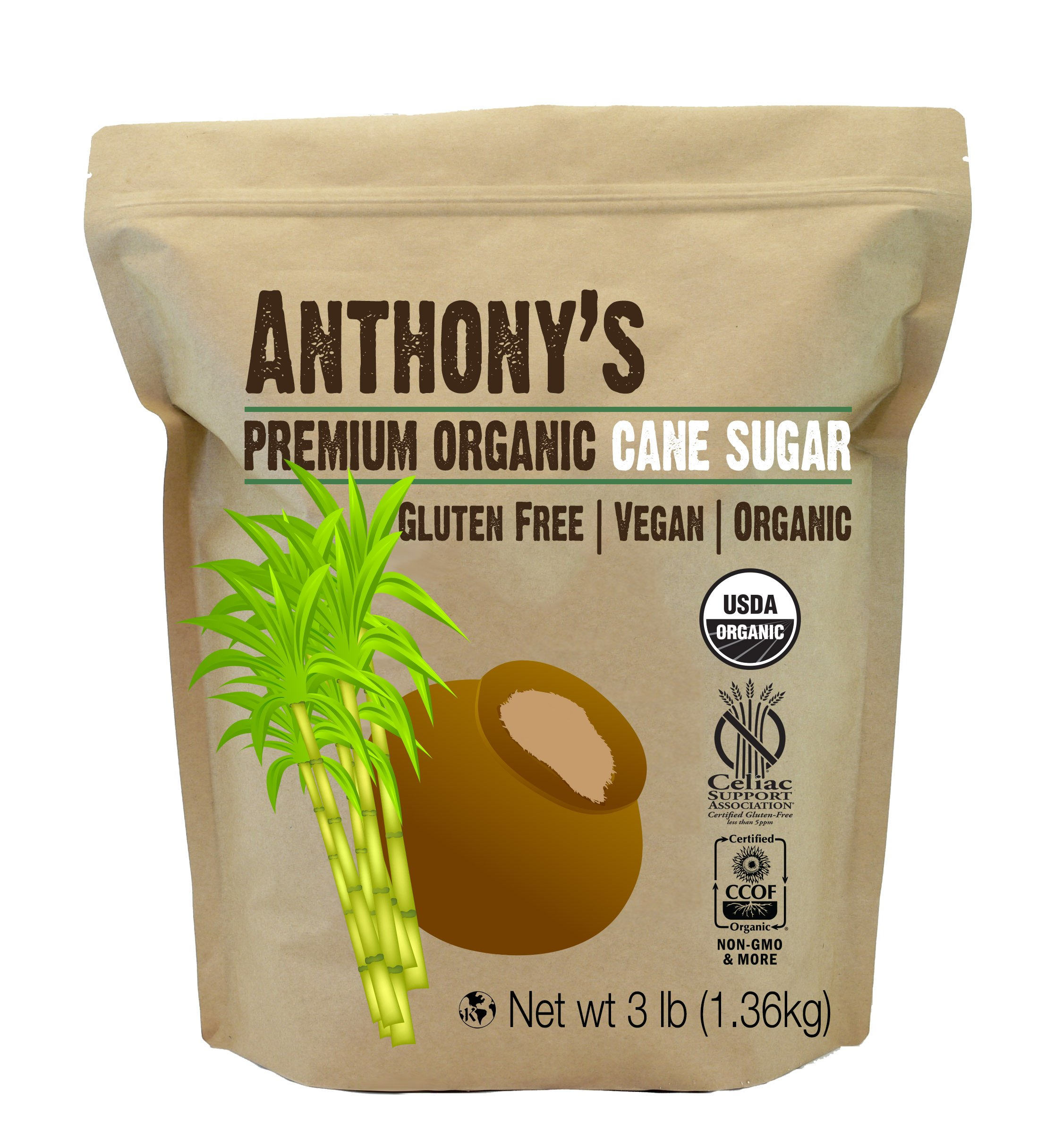Organic Cane Sugar (3 lbs) by Anthony's, Gluten-Free & Non-GMO