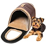 Brown Portable Soft Sided Plush Pillowed Indoor Small Dog or Cat Convertible Pet House / Bed - MyGift