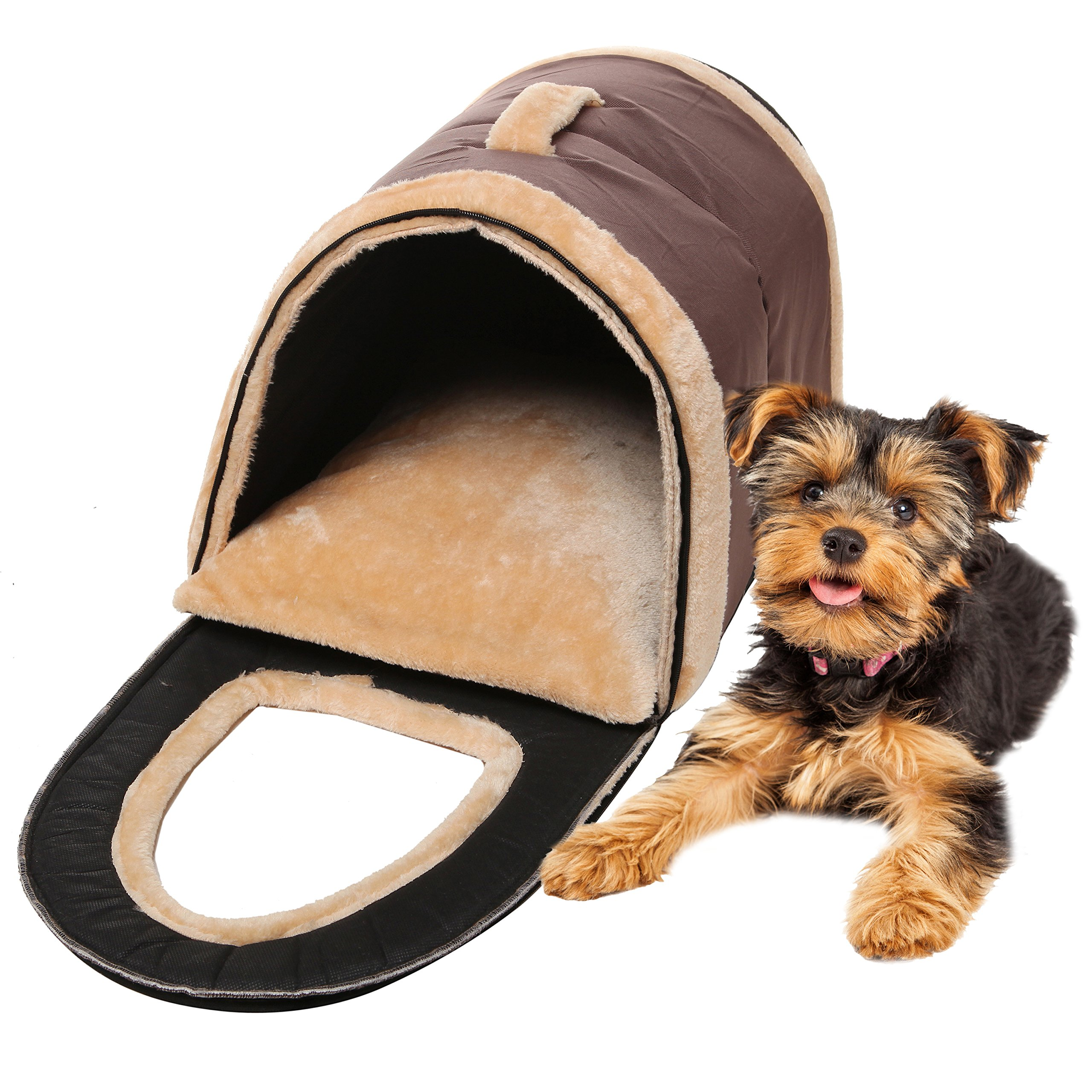 MyGift Brown Portable Soft Sided Plush Pillowed Indoor Small Dog or Cat Convertible Pet House/Bed