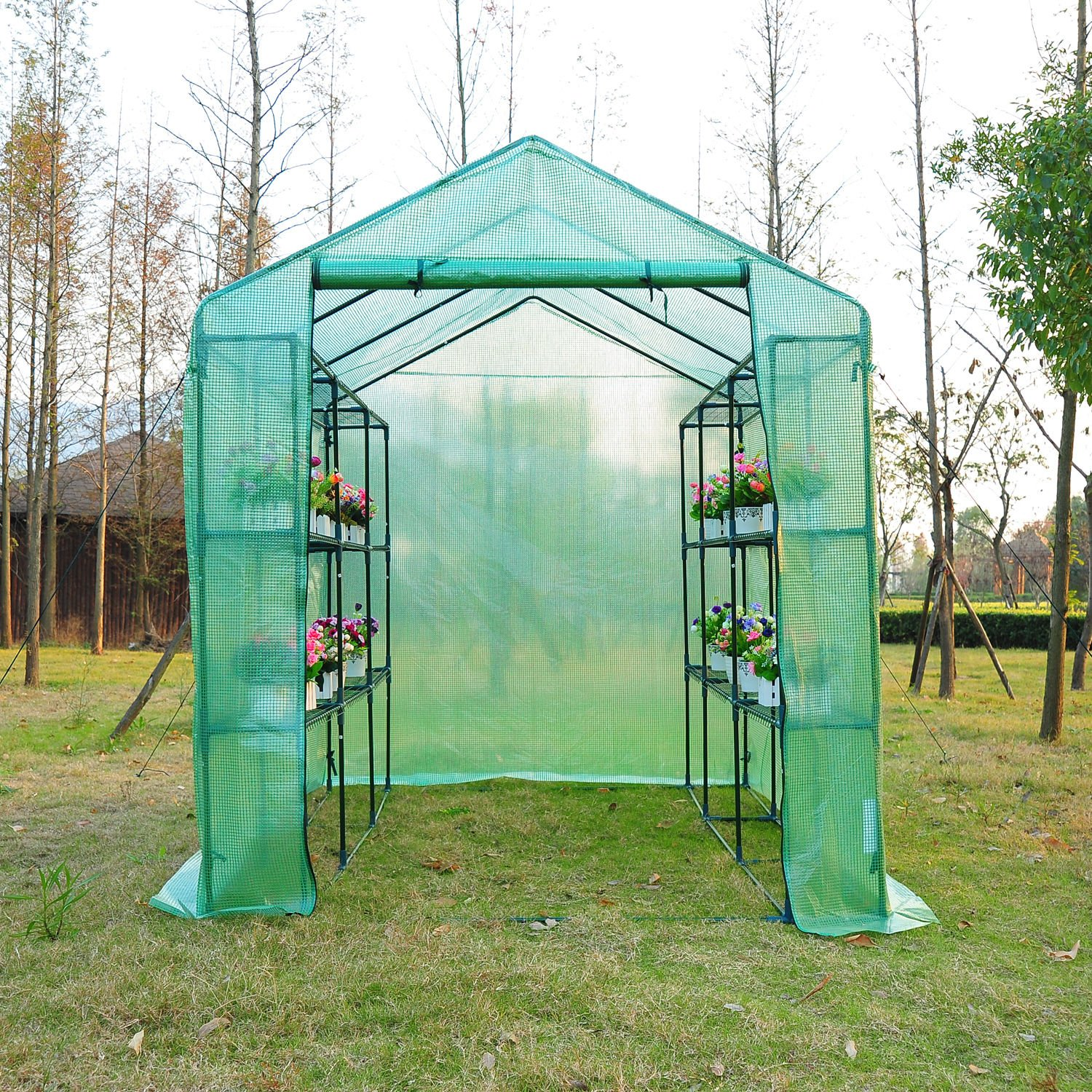 Outsunny 8' x 6' x 7' Outdoor Portable Walk-in Greenhouse by Outsunny (Image #4)