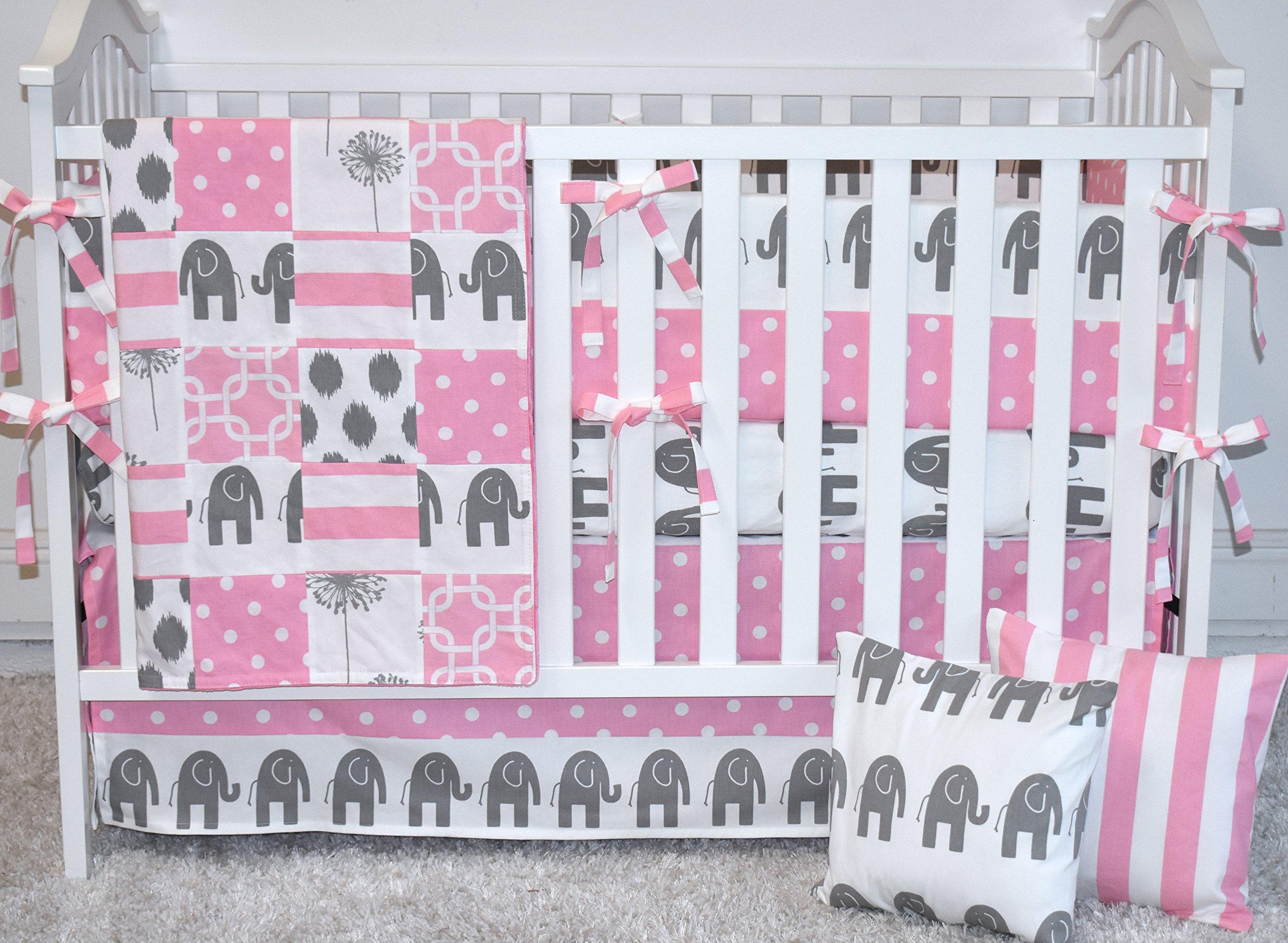 5 piece set - Baby Pink Elephants Crib bedding, bumpers, skirt, fitted sheet, safari theme