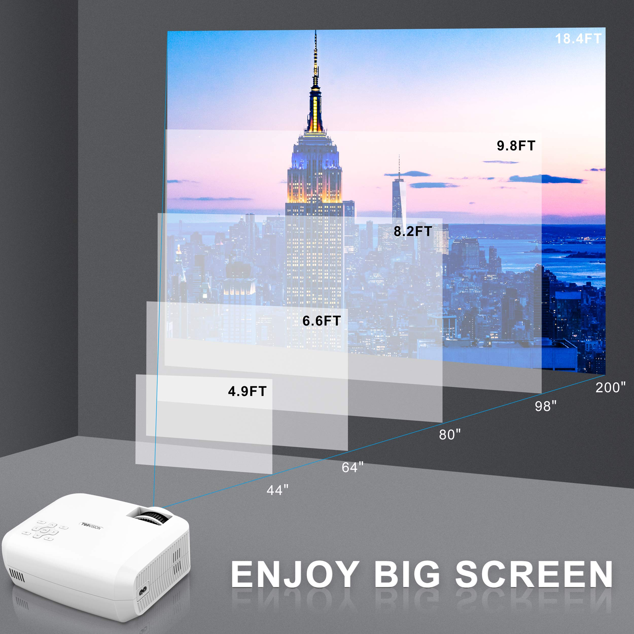 Video Projector, TOPVISION Full HD LED Projector with 3600Lux 2019 Upgraded, 60,000 Hrs Home Movie Projector 1080P Supported for Indoor/Outdoor, Compatible with Fire TV Stick, PS4, HDMI, VGA, AV, USB by TOPVISION (Image #5)