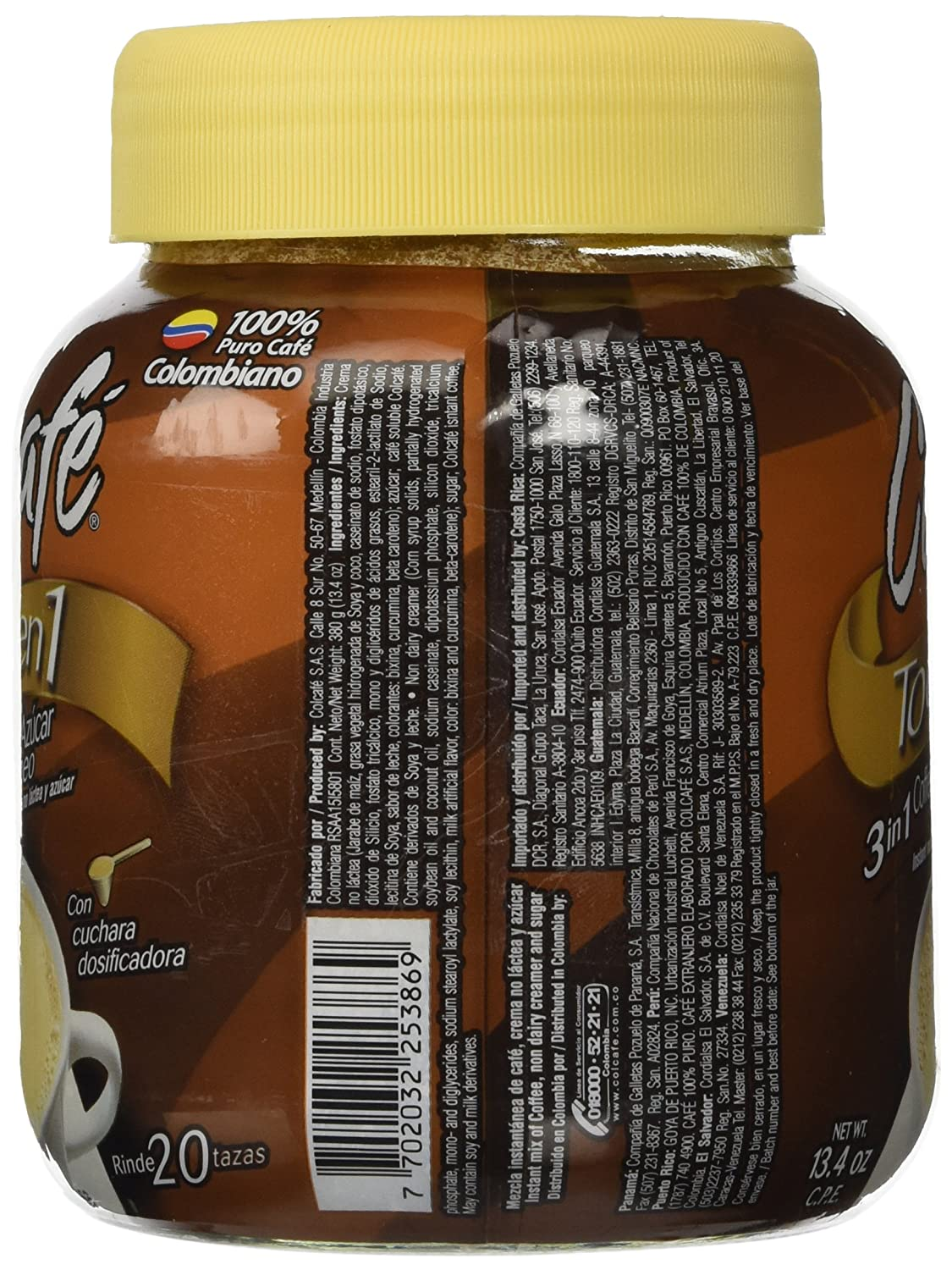 Colcafe Todo En 1 (3 in 1 Coffee/sugar/creamer) Cholesterol and Lactose Free 13.4oz (Single Bottle) Product of Colombia: Amazon.com: Grocery & Gourmet Food