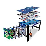 Triumph 13-in-1 Combo Game Table Includes Basketball, Table Tennis, Billiards, Push Hockey, Launch Football, Baseball, Tic-Tac-Toe, and Skee Bean Bag Toss (Color: Black/red, Tamaño: 32.00 x 24.00 x 48.00 inches)