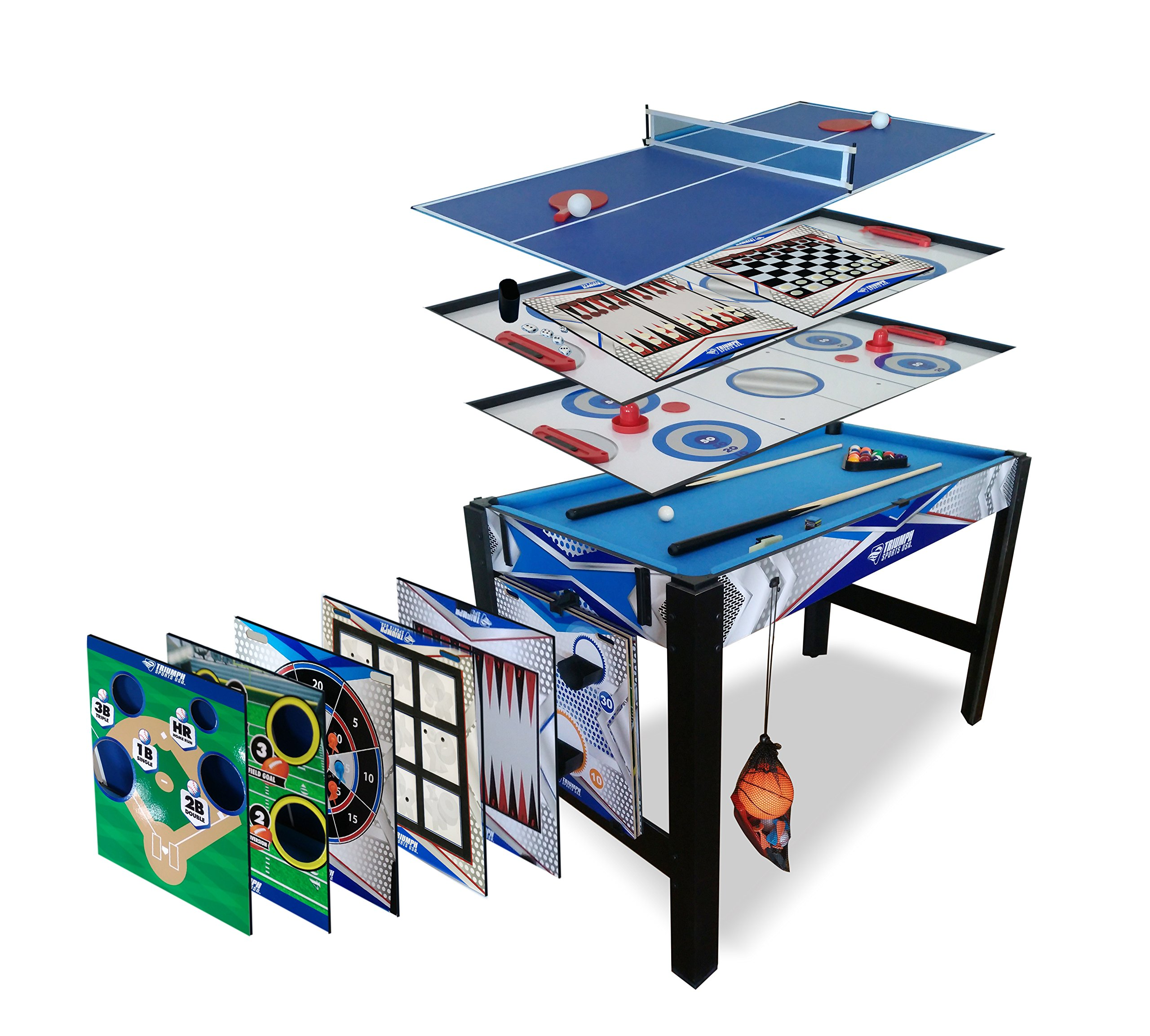 Triumph 13-in-1 Combo Game Table Includes Basketball, Table Tennis, Billiards, Push Hockey, Launch Football, Baseball, Tic-Tac-Toe, and Skee Bean Bag Toss by Triumph Sports