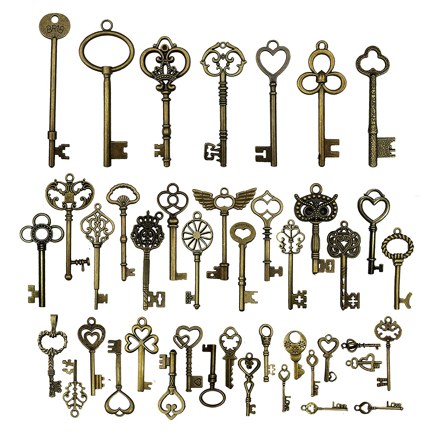 42pcs Mixed Vintage Skeleton Keys, Salome Idea 42 Styles Key for Alice in Wonderland Party, Each 1piece (Brone) Salomé