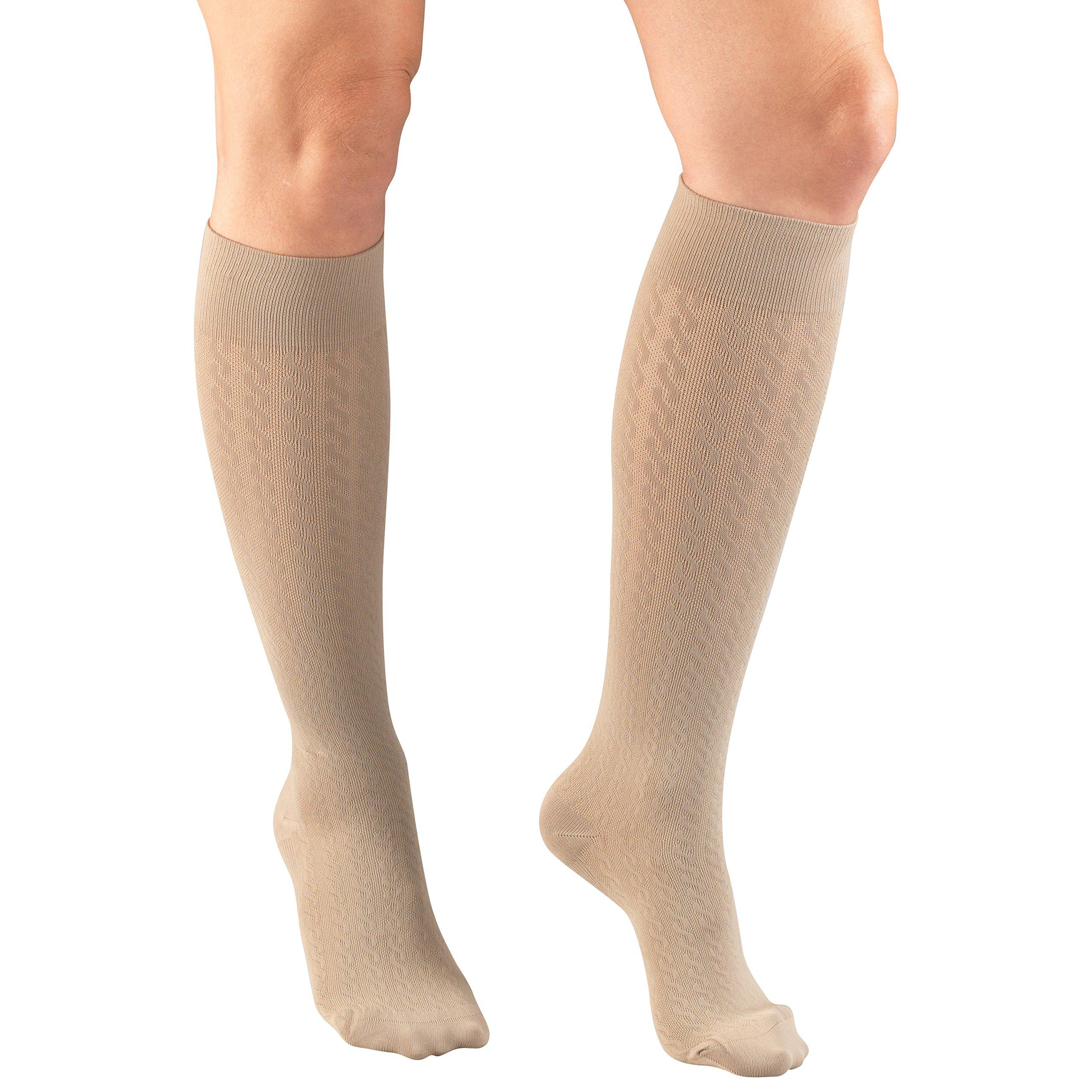 Truform Compression Socks for Women, 15-20 mmHg, Tan Cable Pattern, Medium