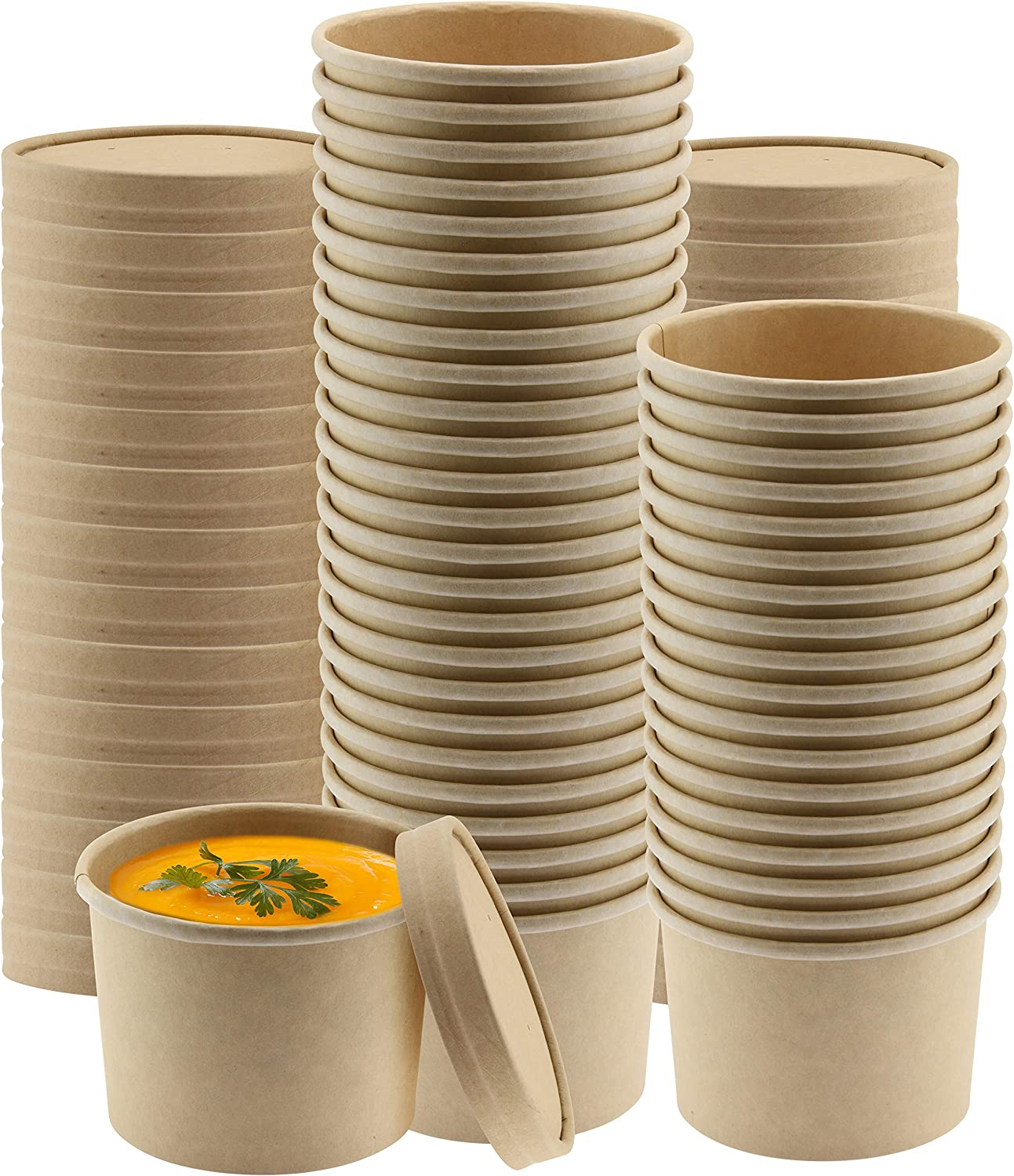 NYHI Kraft Paper Soup Storage Containers With Lids | 8 Ounce Insulated Take Out Disposable Food Storage Container Cups For Hot & Cold Foods | Eco Friendly To Go Soup Bowls With Vented Lid | 50 Pack