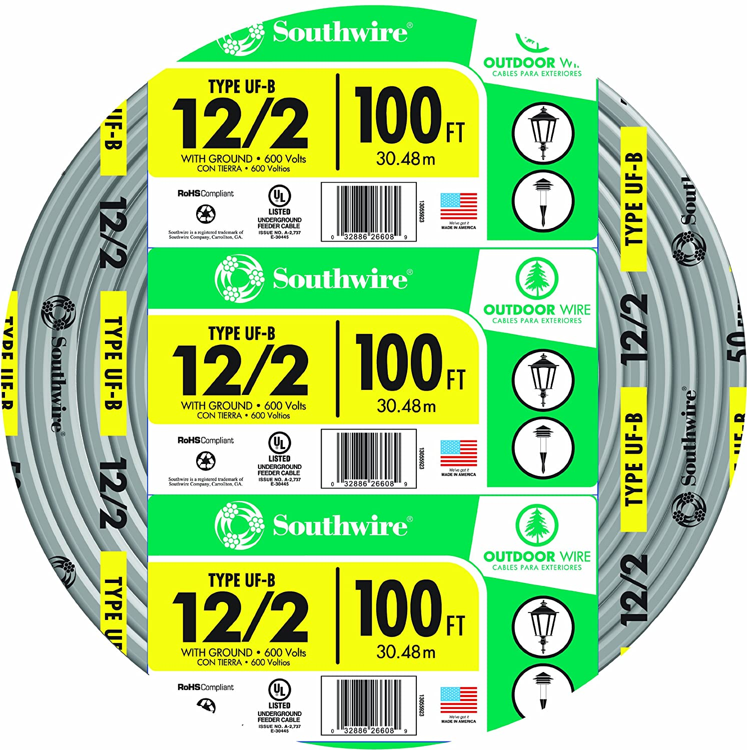 Southwire 13055926 12/2WG UF Wire 100-Foot, Approved for Direct ...