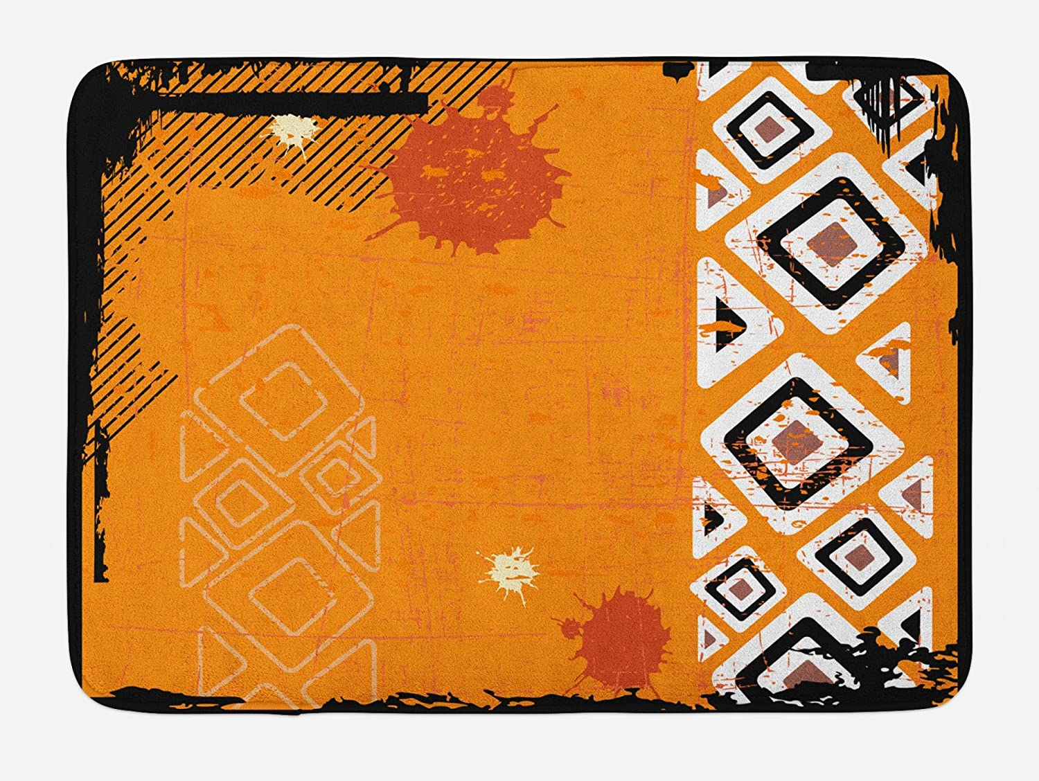 Ambesonne Tribal Bath Mat, Ethnic African Design with Bold Lines Geometric Triangles Artwork Image, Plush Bathroom Decor Mat with Non Slip Backing, 29.5 W X 17.5 L Inches, Black Orange and White
