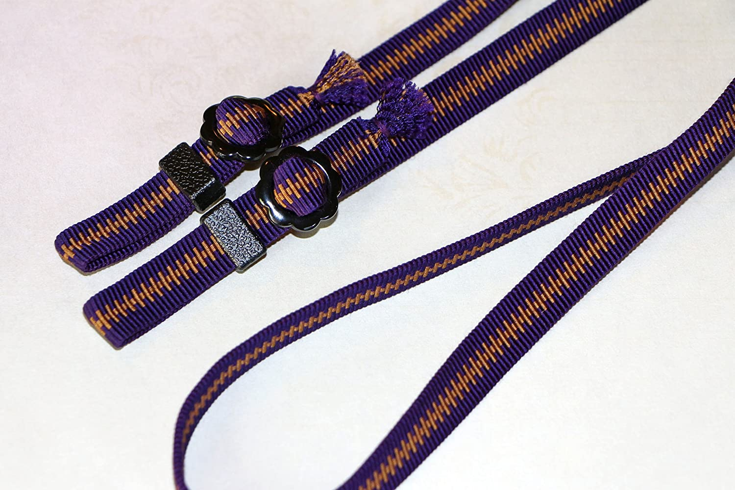 Samurai-ribbon 47-Inch Purple Polyphonic and Cotton String ZIN DESIGN OFFICE Kumihimo Camera Strap with Paulowniacase