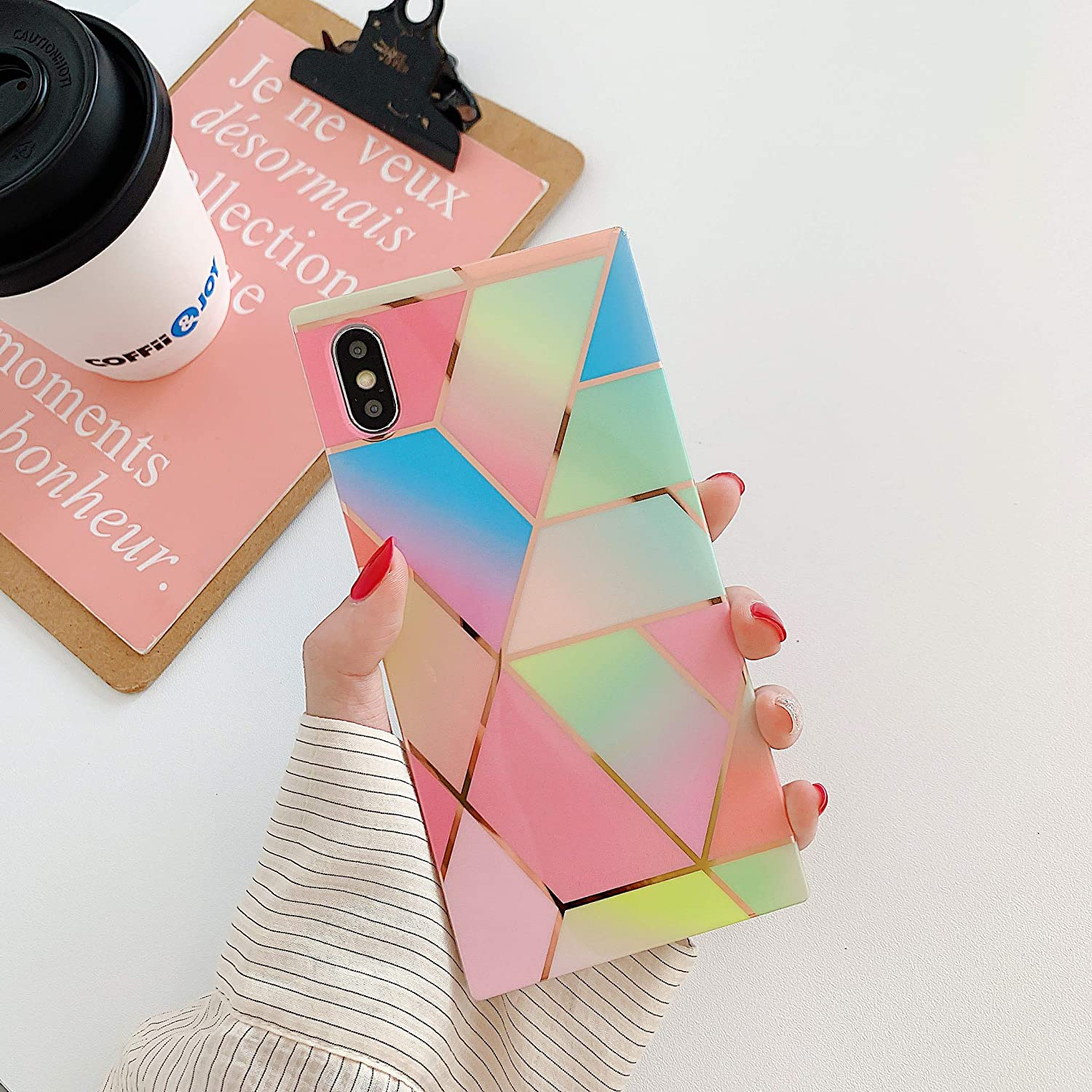 Cocomii Square Geometric Marble iPhone 6S/6 Case, Slim Thin Glossy Soft Flexible TPU Silicone Rubber Gel Shiny Reflective Streaks Fashion Bumper Cover Compatible with Apple iPhone 6S/6 (Rainbow)