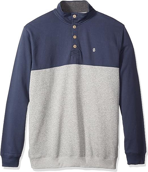 IZOD Mens Big and Tall Advantage Performance Colorblock Quarter Zip Fleece Pullover