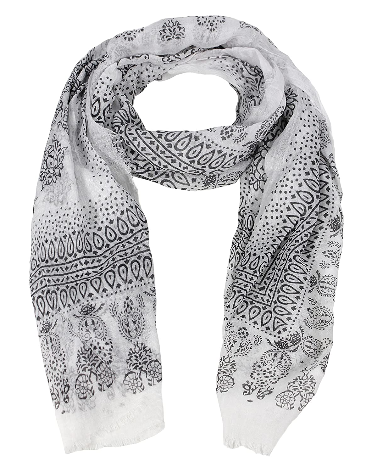 c4a55b77633d2 Peach Couture Classic Lightweight Heavenly Henna Paisley Printed Eyelash  Fringe Scarf Black at Amazon Women's Clothing store: