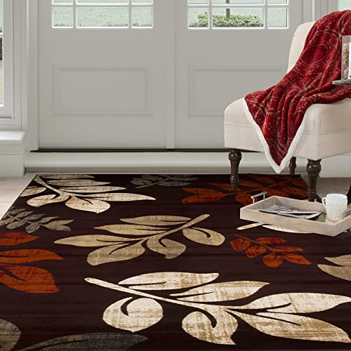 Bedford Home Opus Falling Leaves Area Rug, 8 x 10 , Burgundy