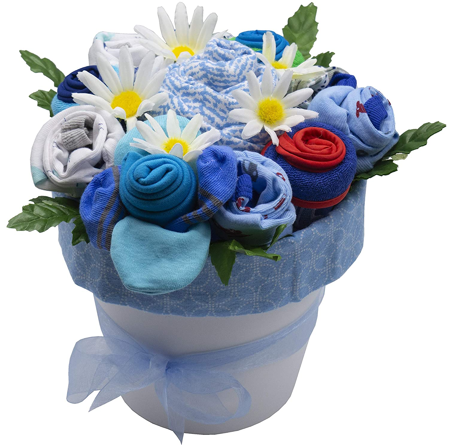 Nikki s Deluxe New Baby Blossom Clothing Bouquet Blue