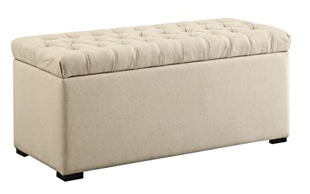 AVE SIX Sahara Tufted Storage Bench with Slam Proof Hinges, Linen Fabric
