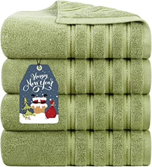 Luxury Plush 100% Cotton Large Bath Towels 700 GSM Soft Towels for Bathroom Eco-Friendly 4 Pack Sage Green