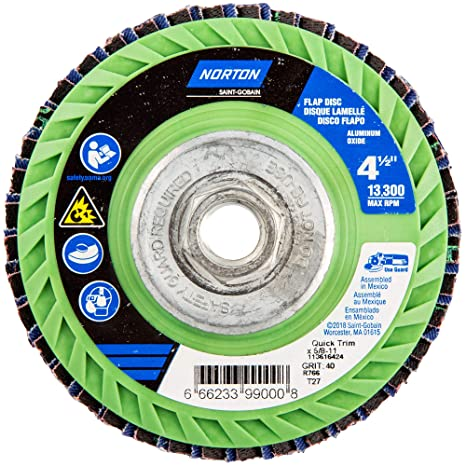 Norton 77696090085 Abrasive Flap Wheels Size 4-1//2 x 7//8 120 Grit 10 EA