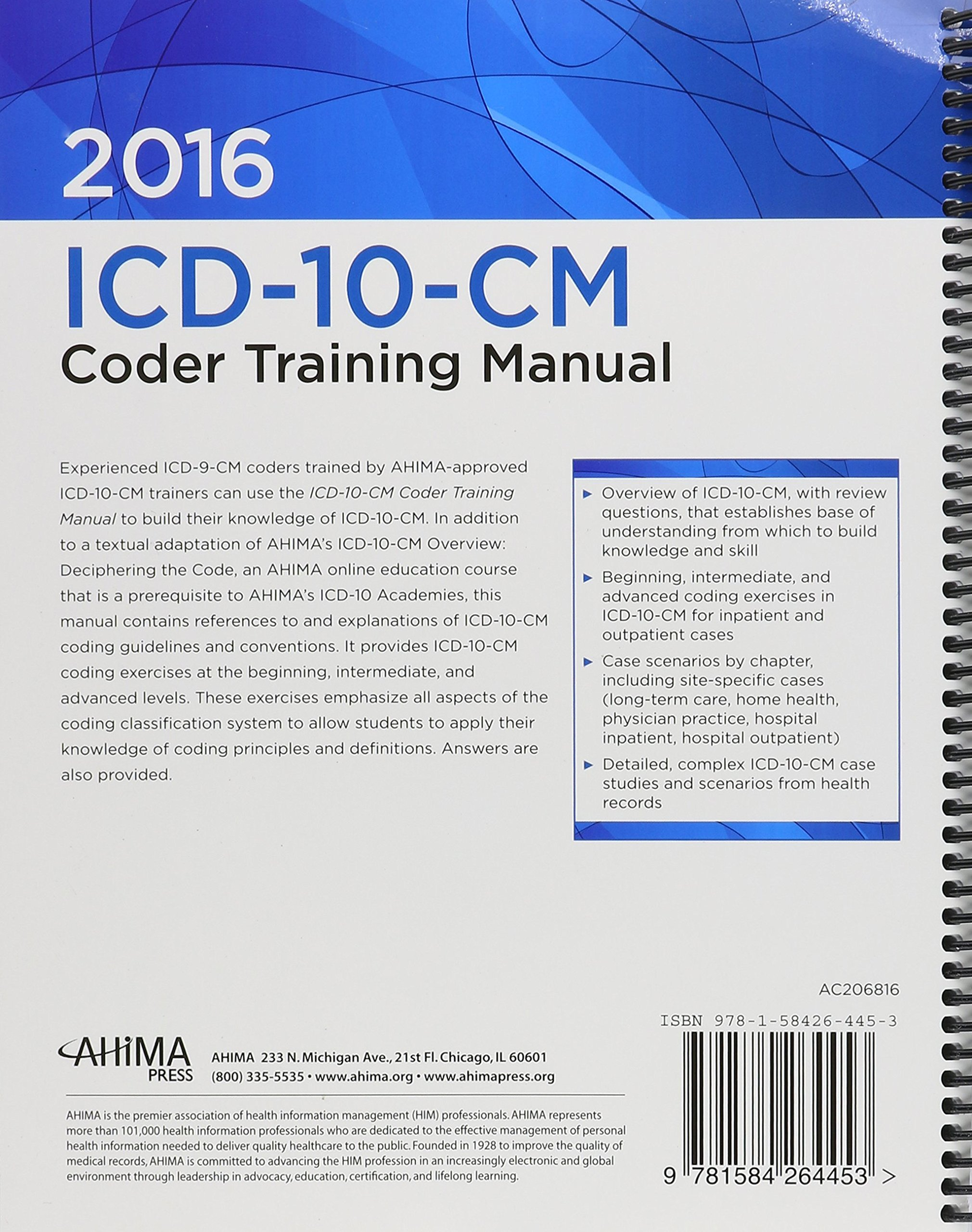 Amazon Buy Icd 10 Cm Coder Training Manual 2016 Edition Book