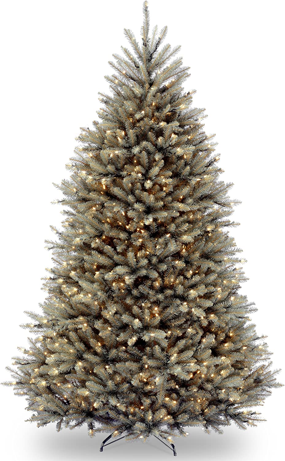 National Tree Company Pre-lit Artificial Christmas Tree | Includes Pre-strung White Lights and Stand | Dunhill Blue Fir - 7.5 ft
