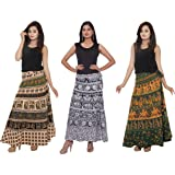 Amber Women's Cotton Skirts Combo Pack Of 3 (WRPCOB01_Multi Color_Free Size)
