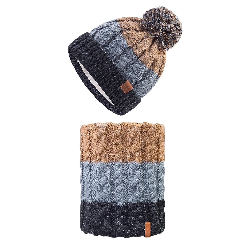 TRIWONDER Set de Gorro de Punto y Bufanda T/érmico Lana Sombrero de Invierno Calentador de Cuello para Hombre Mujer