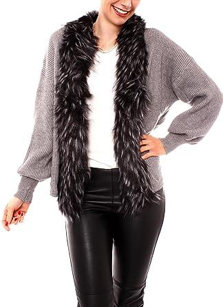 gut aussehend so billig heißer verkauf billig Fragolamoda Damen Grobstrick Strickjacke Oversize Kurzjacke ...