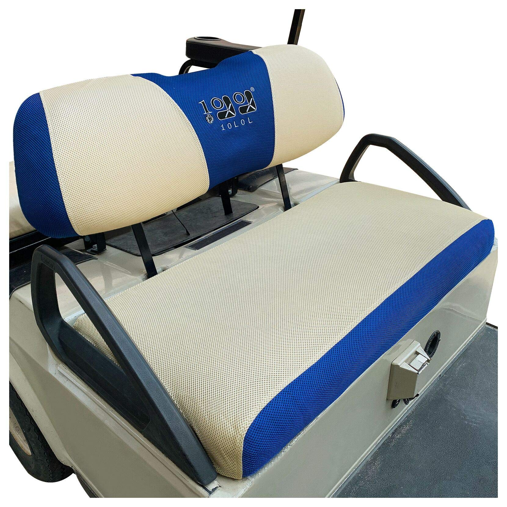 10L0L Golf Cart Bench Seat Cover Set, Washable Polyester Mesh Cloth Fits Club Car DS & Precedent,Yamaha Electric Golf Carts by 10L0L