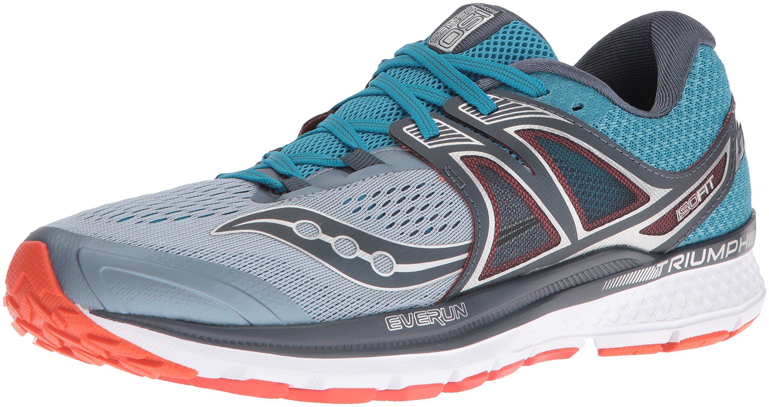 Saucony Men's Triumph ISO 3 Running Shoe, Grey/Blue/Re, 7 M US