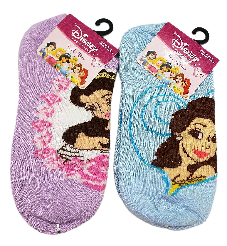 Disneys Princess Belle Blue and Lavender Colored 2 Pair Sock Set Kids Size 6-8