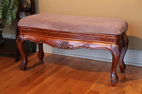 International Caravan Hand Carved Wood Foot of Bed Bench